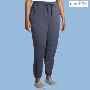 TERRA & SKY Fleece Joggers Sweatpants Blue Size 3X